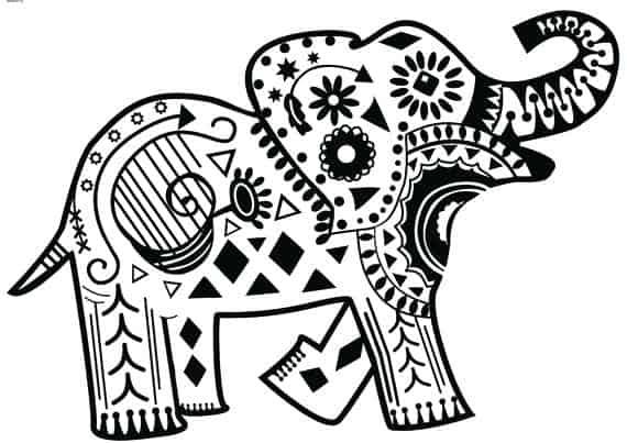 Mandala fácil de elefante
