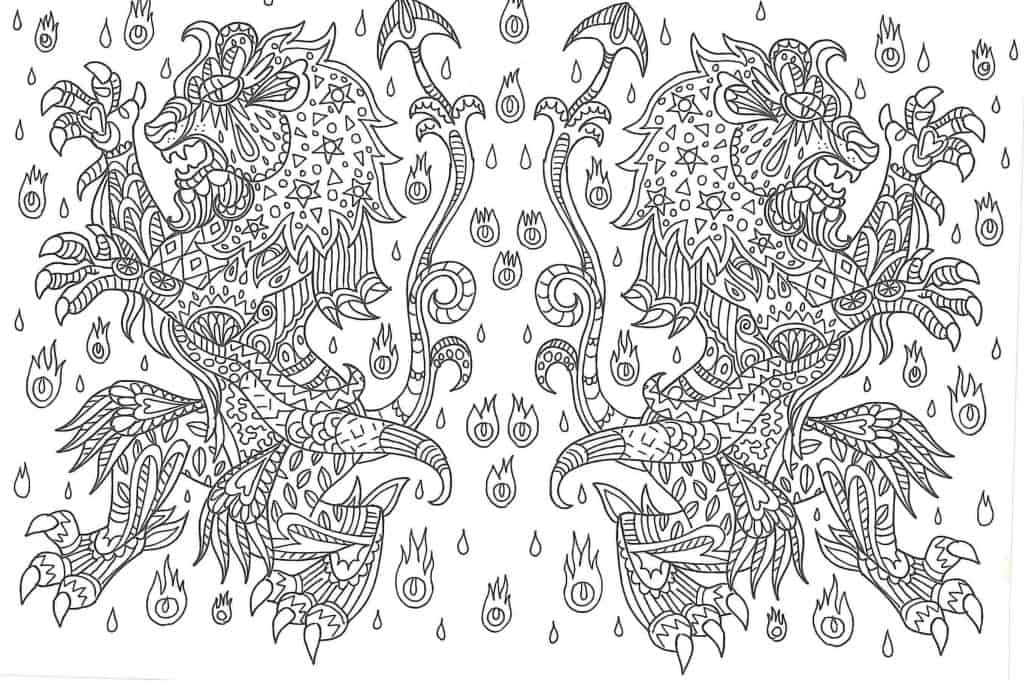 Mandala de leones para dibujar