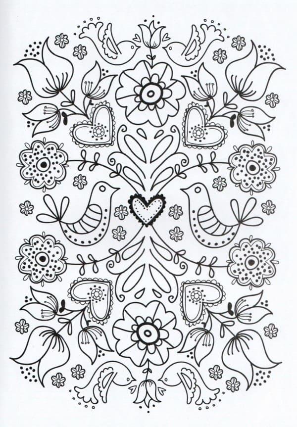 Mandala de pájaros y flores
