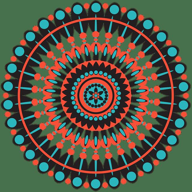 Mandala tribal geométrico en color