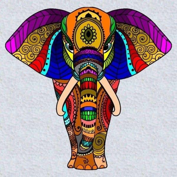 mandalas de elefantes coloreadas