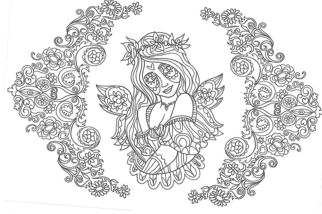 Imagen de hadas y flores para imprimir