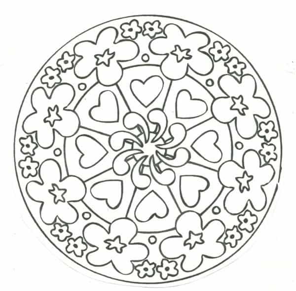 Imagen de flores y corazones para niños