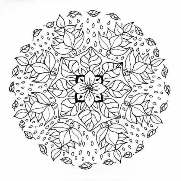 Mandala de flores y caras