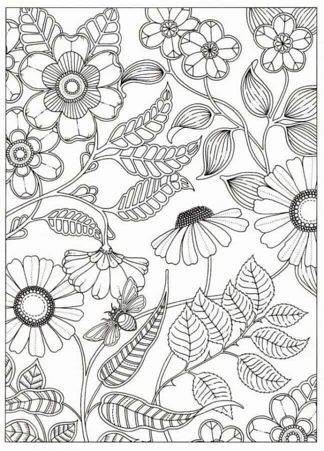 Dibujo de flores con abeja