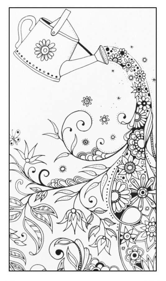 Regadera y flores