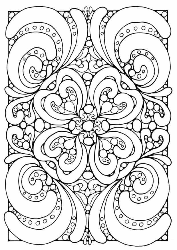 Mandala de flores y corazones difícil para imprimir